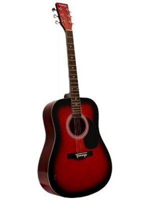 Full Size Dreadnought RED Acoustic Guitar with Free Carrying Bag and Accessories & DirectlyCheap(TM) Translucent Blue Medium Guitar Pick 41-Pro-Pack