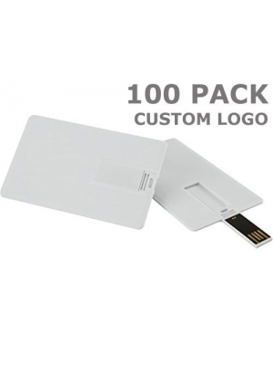 Enfain 1GB Custom Your LOGO Promotional USB Flash Drives - Credit Card Style - 100 Pack