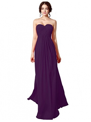 Sarahbridal Sweetheart Bridesmaid Dresses Chiffon Long Prom Evening Gown Pleat SD182