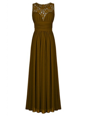 ThaliaDress Women Sheer Neck Sleeveless Vintage Formal Evening Dress T285LF