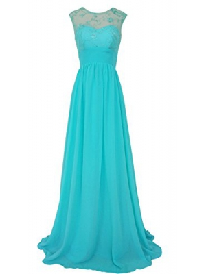 CaliaDress Women Sleeveless See-through Long Prom Gown Bridesmaid Dress C289LF