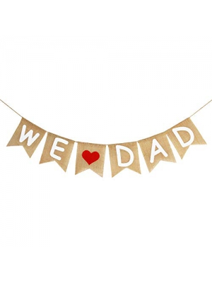 Burlap We Love Dad Banner Garland | Rustic Fathers Day Decorations | Fathers Day Gift from Son and Daughter | Fathers Day Party Supplies Family Photo Props