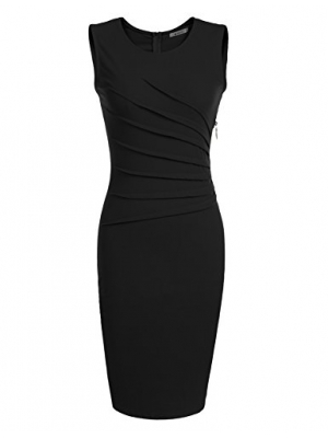 ANGVNS Women's Classic Slim Fit Sleeveless Midi Pencil Business Bodycon Dress