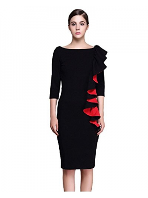 TINYHI Women's 3/4 Sleeve Round Neck Fashion Ruffles Vintage Slim Pencil Dress