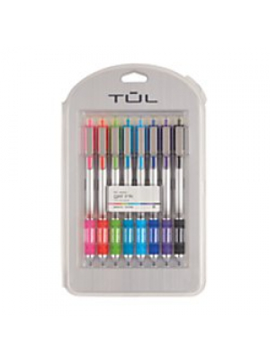 TUL Retractable Gel Pens, Bullet Point, 0.5 mm, Gray Barrel, Assorted Bright Ink Colors, Pack Of 8