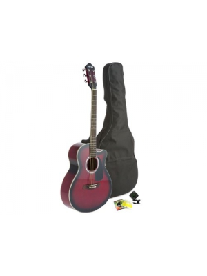 Fever Full Size Jumbo Body Steel String Acoustic Guitar Red with Bag, Tuner and Strings, 5015C-RD