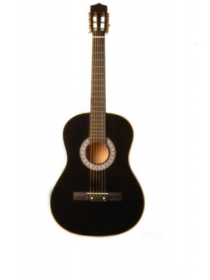 38-Inch Beginner Acoustic Guitar Starter Pack with Gig Bag, Strap, Pitch Pipe, and Pick - Black Dreadnought