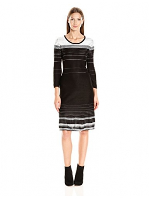 Nine West Women's 3/4 Slv Fit and Flare Verigated Stripe Dress