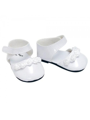 18 Inch Doll Dress Shoes fit for American Girl Dolls in White Patent Leather and Satin Rose Ribbon Trim, White Doll Dress Shoes