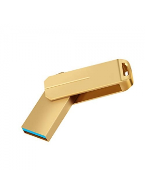 128GB USB 3.0 Flash Drive, PANGUK Memory Stick high Speed Thumb Drive USB Memory Stick Waterproof, Shockproof 360 Rotary Drive Compact (Gold 128GB)