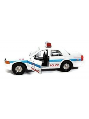 5 Diecast Metal White Chicago Police Car with Pullback Motor Action