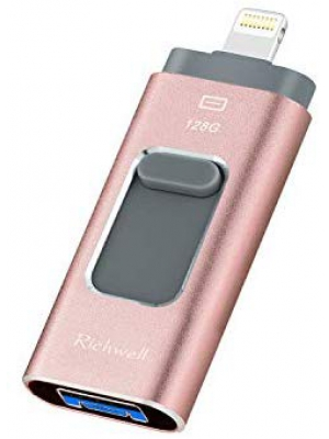 USB Drive 128GB for iPhone Photo Stick iOS Flash Drives USB Memory Stick 3in1 External Storage Thumb Drive Richwell Compatible iPhone iPad Mac Android and Compute(Pink128G-XT)