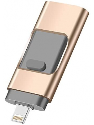 Xinber USB Flash Drive 256GB, iPhone Flash Drive USB 3.0 Memory Stick 3-in-1 External Storage for iPhone, Android, PC Data Storage Flash Disk (Gold)