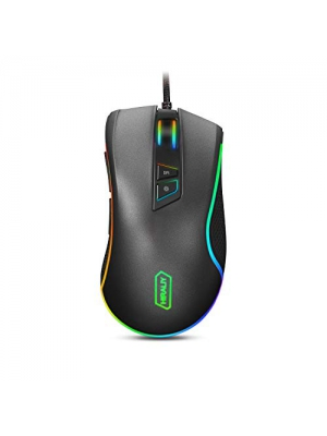 HIRALIY F300 Gaming Mouse Wired 10,000 DPI Adjustable with 16.8 Million Chroma RGB Color 12 Backlit Modes 7 Programmable Buttons PMW3325 Optical Gaming Sensor [Newest Version]