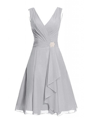 Anlin Womens V-neck Bridesmaid Prom Dress Short Chiffon Junior Homecoming Gown AN57