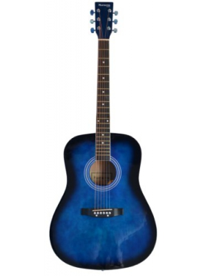 "41"" Inch Full Size BLUE Handcrafted Steel String Dreadnought Guitar & DirectlyCheap(TM) Translucent Blue Medium Guitar Pick"