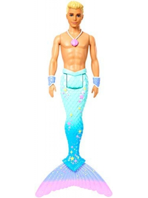 Barbie Dreamtopia Merman Doll, Approx. 12-Inch with Blue Rainbow Tail and Blonde Hair, for 3 to 7 Year Olds