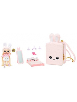 MGA Entertainment Na! Na! Na! Surprise 3-in-1 Backpack Bedroom Pink Bunny Playset with Limited Edition Doll
