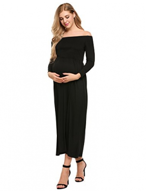 Beyove Women's Casual Maternity Off Shoulder Long Sleeve Loose Cotton Elastic Waist Maxi Dress