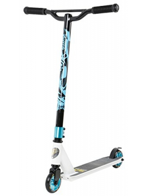 STAR-SCOOTER Original Pro Sport Complete Lightweight Stunt Scooter for Adults, Teenager and for Kids over 7 years | For Beginners & Intermediate Skill Riders with Alloy Wheels 100mm | White & Blue