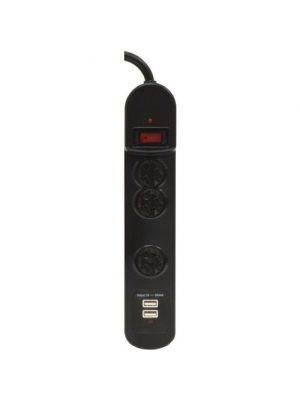 GE 14002 3-Outlet Surge Protector with 2 USB Charging Ports