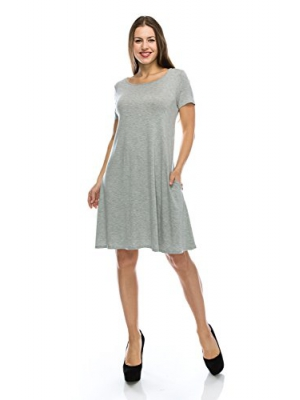 Nelly Aura Cute Tunic Shirt Dress Flowy Short Sleeve Top w/Pockets - Made In USA - All Sizes + Colors