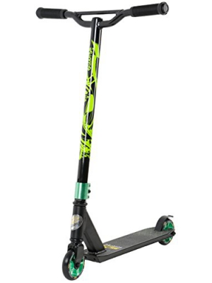 STAR-SCOOTER Original Pro Sport Complete Lightweight Stunt Scooter for Adults, Teenager and for Kids over 7 years | For Beginners & Intermediate Skill Riders with Alloy Wheels 100mm | Black & Green