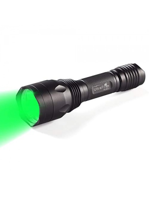 ULTRAFIRE Green Hunting Flashlight, XP-E2 LED 650 Lumens, Single Mode, 520-535 nm Wavelength 256 Yards,Tactical Night Hunting Light for Hog Pig Coyote Varmint Predator Rifle