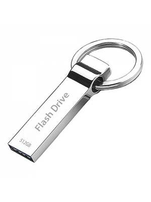 USB Flash Drive 512gb USB 2.0 PC Memory Stick Thumb Waterproof Storage Backup Pen with Keychain - Silver