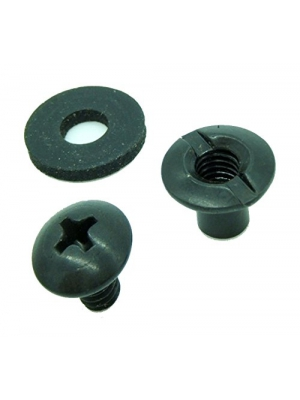 "Black Chicago Screw - Binding Post Kit 1/4"" or 3/8"" Open Slotted Back Fasteners- Neoprene Rubber Washers & Phillips Truss Heads by QuickClip Pro for Kydex or Leather Gun Holster & Knife Sheath Making"