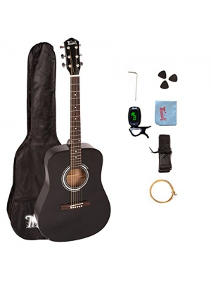 Trendy 41 Inch Full Size Dreadnought 6 Steel String Beginner Acoustic Guitar Package with Clip-On E-Tuner, Extra Strings, Strap, Picks and Polishing Cloth, Guitar Stand- Black
