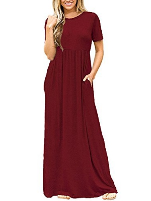 Pxmoda Women Casual Short Sleeve Pleated Tunic Long Maxi Dress with Pockets
