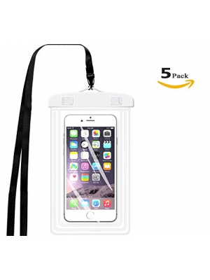 "[5 Pack]Universal Waterproof Case, ibarbe IPX8 Waterproof Phone Pouch Dry Bag for iPhone, Samsung,Google Pixel, HTC, LG, Huawei for Devices up to 5.7"" (white)"