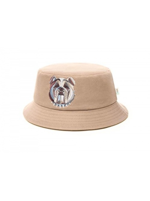 Men's Bucket Hat One-Size-Fits-Most Premium Quality Material 100% Cotton Multicolor Embroidered English Bulldog Logo by OUNCE Stylish and Comfortable Beige or Brown
