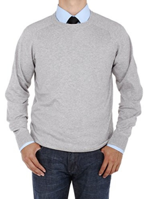 Luciano Natazzi Men's Crew Neck Cotton Sweater Relaxed Fit