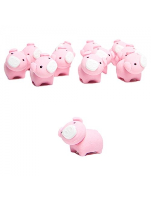 12 Adorable Deluxe Pink Pig Erasers - Perfect for Schools, Goody Bags & More!