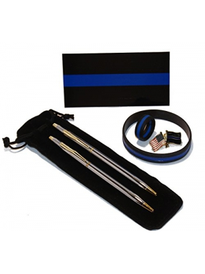 Classic Chrome and Gold Police Uniform Pens w/ Thin Blue Line Gift Pack