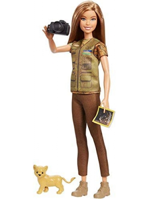 ​Barbie Photojournalist Doll, Brunette with Lion Cub, Camera and Magazine Cover, Inspired by National Geographic for Kids 3 Years to 7 Years Old