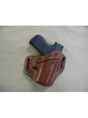 Glock 43 9mm OWB Leather 2 Slot Molded Pancake Belt Holster CCW TAN RH
