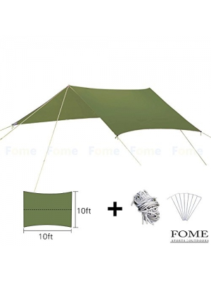 Rain Tarp Camping, FOME SPORTS|OUTDOORS 10ft x 10ft Multipurpose Portable Outdoor Awning Sunshade Sun Shelter Rain Survival Tarp Ultralight Waterproof Sunproof for Camping Hiking Fishing Beach