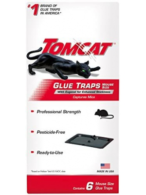 Tomcat Glue Traps Mouse Size with Eugenol for Enhanced Stickiness, Captures Mice and Other Household Pests, Professional Strength, Pesticide-Free and Ready-to-Use, 6 Glue Traps