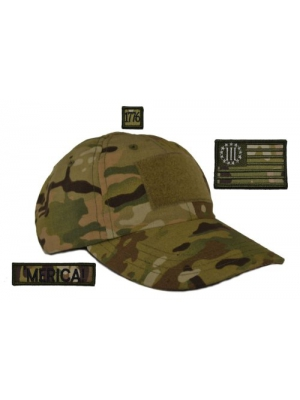 USA Made Tactical Operator Cap with Three Percenter Flag Merica! Patch Set - One Size Adjustable - Multicam