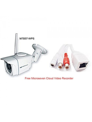 Microseven M7B57-WPS 3MP 3.6mm Lens HD 960P Wireless IP Camera PoE SD Slot 64GB Audio P2P Outdoor WiFi Night Vision Free 24hrs Video History In Cloud Video Recorder & Live Streaming on microseven.tv