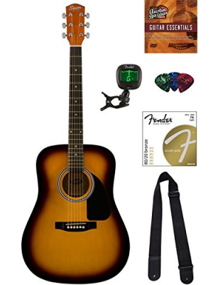Fender Squier Dreadnought Acoustic Guitar - Sunburst Bundle with Tuner, Strap, Strings, Picks, Austin Bazaar Instructional DVD, and Polishing Cloth