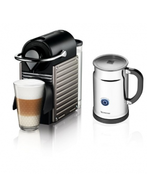 Nespresso Pixie Espresso Maker With Aeroccino Plus Milk Frother, Electric Titan (Discontinued Model)