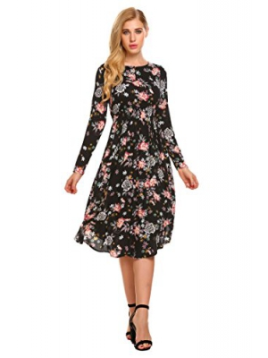 Hotouch Women Button Up O Neck Long Sleeve Floral Printed Elastic High Waist Pleated Dress