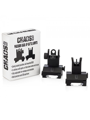 Flip Up Sights - Chaos Ready Backup Iron Sights - Spring Loaded BUIS Co-Witness AR Pattern Front And Rear Combo Set