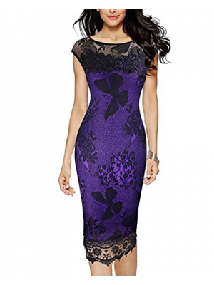 Tempt Me Womens Sexy Floral Lace Bodycon Evening Party Cocktail Pencil Dress