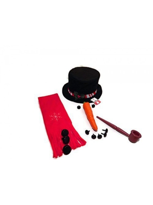 8 Piece Snowman Kit~Hat, Scarf, Eyes, Carrot Nose, 1 Pipe and 3 Buttons~