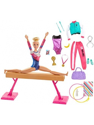 ​Barbie Gymnastics Doll and Playset with Twirling Feature, Balance Beam, 15+ Accessories